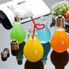Fruit Juice Creative Transparent Water Cup Gift Bulb Bottle Drinking Jar + Straw