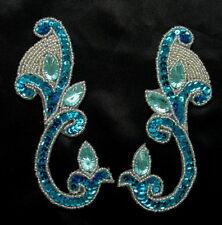 Lr151-4 Aqua Mirror Pair Sequin Beaded Applique w/Gemstones ~Fluer De Lis~