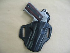 "Dan Wesson 5"" 1911 OWB Leather 2 Slot Molded Pancake Belt Holster CCW BLACK RH"