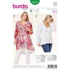 Burda Sewing Pattern 6615 Womens Plus Size 18-30 Pin Tuck V-Neck Blouse Shirt