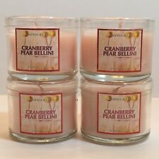 LOT 4 BATH BODY WORKS CRANBERRY PEAR BELLINI FILLED SCENTED 1.3 OZ MINI CANDLES