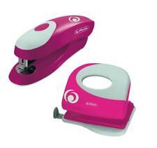 Herlitz Büroset / Heftgerät 24/6 + Bürolocher mit Ansatzschiene / Farbe: pink