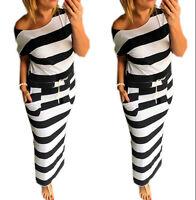 Neu Damen Maxikleid Lang Kleid Marine Streifen Strand Sommer Urlaub S/M L/XL 367