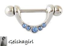 Blue CZ Crystal Nipple Shield Cover Rings Body Piercing Bar Jewellery UK Seller