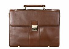 Visconti 01775 Brown Leather Men Briefcase Business Bag Shoulder Laptop Gift
