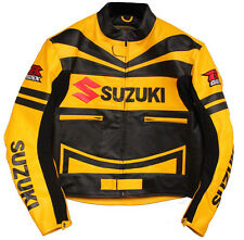 Mens Suzuki Yellow Motorcycle Leather Jacket Sports Motorbike Leather Racing