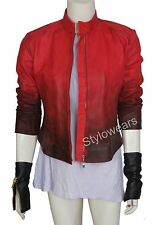 New Womens Age of Ultron 2 Scarlet Witch Vampire Red Real Leather Jacket Gloves