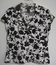 Chadwicks L Brown Floral Criss Crossed Knot Emipre Polyester Top Shirt Blouse