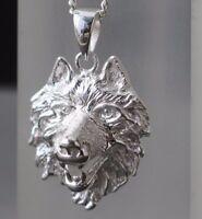 Herren Wolfskopf Anhänger Wolf  - 925 Sterling Silber -  massiv Kettenanhänger