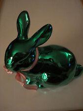 Ceramic Metallic Bunny Green Sitting