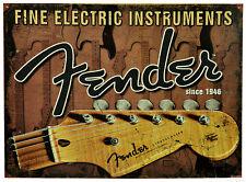 FENDER Schild Stratocaster Electric Guitar Gitarren Poster Reklame *554