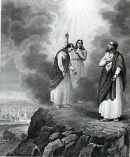 Antique religious print,steel engraving :angels from heaven serving Jesus 1864