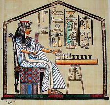 Egyptian Hand-Painted Papyrus Artwork: Queen Nefertari Playing Senet SIGNED