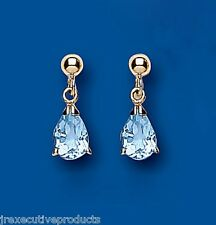 Blue Topaz Earrings Yellow Gold Drop