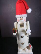 "Snowman Nutcracker Wooden 13"" Tall. Crackle Finish Red Felt Hat w Broom & Gift"