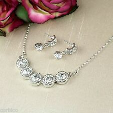 S3 Wedding Bridal Party Prom Round Clear Crystal Necklace and Earrings Set