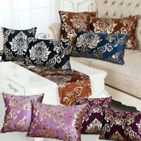 VINTAGE DAMASK THICK VELVET CUSHION COVER WEDDING BED TABLE RUNNER CLOTH