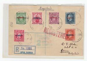 Samoa 1917 -  SG115-121 on registered cover to Switzerland