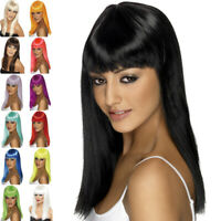 Glamourama Wig Long Straight with Fringe Womens Fancy Dress Costume Accessory