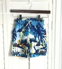 NWT The Childrens Place Boys S Blue UPF 50+ Tropical Swimsuit Trunks