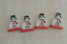 Snowmen Holiday Napkin Ring Holders wood vintage 4 pc ,4.5 x 4.5 inch each