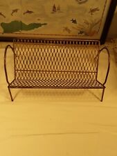 Vintage Metal Rack Book Record Holder Gold Tone Mid Century Shelf