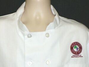 Vintage Chef Coat Uniform Jacket Marty's Fine Wine & Food Dallas Tx Sz M White
