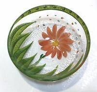 HAND PAINTED CLEAR GLASS Orange Coral Flower BOWL Trinket Candy Dish