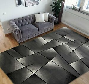 Triangle Pattern 8x10 Rug Geometric Contemporary Black Grey Area Rugs 5x7 Carpet