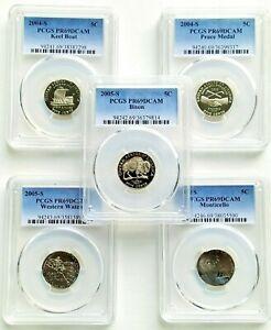 2004-6 Jefferson Nickel Westward Journey Seri. 5 coin Collection- PCGS PR69DCAM
