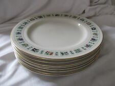 Royal Doulton lot of 8 dinner plates Tapestry 1966-88 fruit flowers gold rim