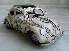 VW BEETLE - HERBIE # 53 RUSTIC TIN METAL MODEL RALLY CAR  - 15 CM LONG