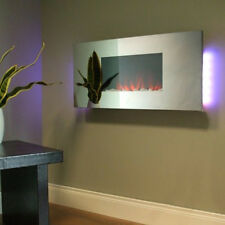 Remote Control Contemporary Flat Wall Mounted Electric Fire Mirrored Glass