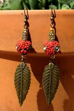 Pierced Earrings India W/ Free Shipping Sale Coral Turquoise Aged Brass Ladies