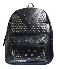 zaino uomo donna eco pelle zainetto borsa backpack borchie metallo nero cerniera