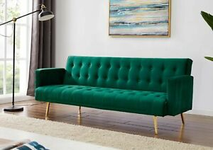 Modern Velvet Sofa Bed Green With Rose Golden Legs Elegant Sofa Bed
