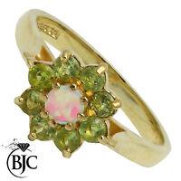 BJC 9 ct peridoto y oro amarillo & Ópalo Tamaño K anillo de compromiso R145