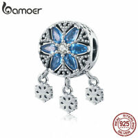 BAMOER Authentic s925 Sterling silver Charm Bead Snow & CZ Fit Women Bracelet