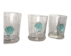 3 Hand Blown Mexican Bubbly Glass Tumblers Sea Shell Excellent Condition