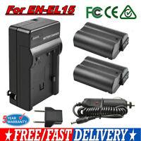 2X EN-EL15 Battery + Charger For Nikon DSLR D7200 D7100 D7000 D810 D800 D750 EG