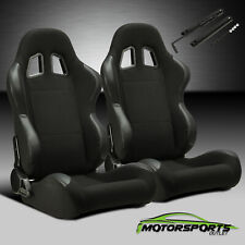 Reclinable Black PVC Patches Fabric Pineapple Racing Seats Left/Right W/Slider