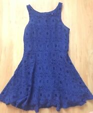 BB Dakota Dress from Nordstrom Blue Lined Lace Fit & Flare size 8 w/ Alterations