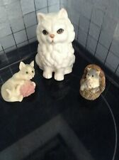 Cat Ornaments x 3, one white and two small cuties