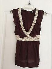 Bebe Woman's Crochet Detailed Blouse - Brown - XS