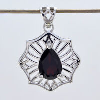 attractive Garnet 925 Sterling Silver Red Pendant genuine jewellery US gift