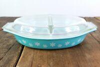 Pyrex Snowflake Divided Casserole Dish VINTAGE Turquoise Teal 1.5 Quart