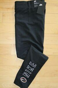 NWT NIKE Women's Athletic Varsity Workout Logo Leggings Pants Black White