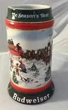 """VTG Budweiser Holiday Stein 1991 Collector's Series """"The Seasons Best"""""""