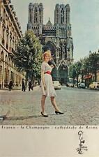 1961 Francia la champaña: CATHEDRALE DE REIMS-Poster Vintage/litografía
