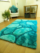 Luxurious Thick Pile Rug Modern Soft Silky Contemporary Shaggy Rugs Mats UK Teal Blue Pebbles 90x150cm (3x5')